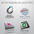 Set of modern logotypes in 3D
