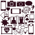 Set of modern media communication and hipster elements Royalty Free Stock Photo