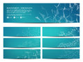 Set of modern scientific banners. Molecular structure of DNA and neurons. Geometric abstract background. Medicine