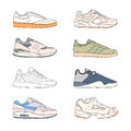 Set of modern sneakers. Sports shoes collection. Casual footwear side view. Hand drawn vector illustration. Royalty Free Stock Photo