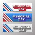 Set of modern vector horizontal banners, page headers with text for Memorial Day. Banners with stripes and stars