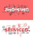 Set of modern vector illustration concepts of words shopping and services Royalty Free Stock Photo