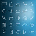 Set of modern web icons on blurred blue background Stock Photography