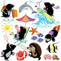 Set with mole on a beach tropical different activities isolated cartoon images for little kids Royalty Free Stock Image