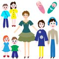Set of mom and kids of different ages for your works on white background