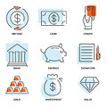 Set of money and value flat line vector icons Royalty Free Stock Photo