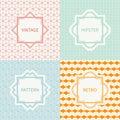 Set of mono line geometric seamless cube pattern Royalty Free Stock Photo