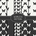 Set of monochrome abstract seamless pattern with butterfly. Wrapping paper. Scrapbook. Tiling. Vector illustration Royalty Free Stock Photo