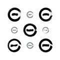 Set of monochrome hand-drawn validation icons scanned and vector Royalty Free Stock Photo