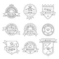 Set of monochrome hipster vintage label logo and badge templates trendy line design vector illustration Royalty Free Stock Photos