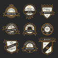 Set of monochrome hipster vintage label logo and badge templates trendy line design vector illustration Stock Photos