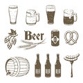 Set of monochrome, lineart food icons: beer.