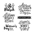 Set of monochrome logos to the International Women`s Day. Signs, badges, titles for the Day on 8 March. The text for the