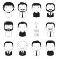 Set of monochrome male faces icons funny cartoon hand drawn sketch pictogram for your design collection cute man avatar Stock Image