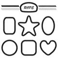Set of monochrome vector brushes and frames