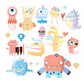 Set of monsters background with a amusing multi colored on white Royalty Free Stock Images