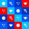Set Moon, Scorpio zodiac, Falling star and Dog icon. Vector Royalty Free Stock Photo