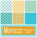 Set of 6 Morocco patterns background. Geometric seamless muslim