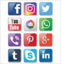 Set of most popular social media icons collection