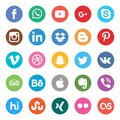 Social Media Set. Beautiful color circle icon design for website, template, banner.