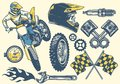 Set of motocross objects in retro hand drawing style Royalty Free Stock Photo