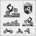 Set of motorsport silhouettes, labels and emblems. Motocross riders, moto trial. Royalty Free Stock Photo