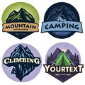 Set of Mountain Camping Logos, Templates, Vector Design Elements, Outdoor Adventure and Forest Expeditions Vintage Emblems