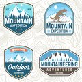 Set of mountain expedition patches. Vector. Concept for alpine club shirt or badge, print, stamp. Vintage typography
