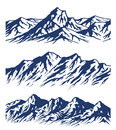 Set of mountain range silhouettes Royalty Free Stock Photo