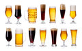set of mugs and glasses with light and dark beer isolated on white. Royalty Free Stock Photo