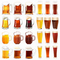 Set of mugs with a light and dark beer Royalty Free Stock Photo