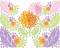 Set of multi colored flowers and leaves in a symmetrical form