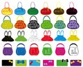 Set of multi-colored ladies' handbags. Stock Image