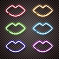 A set of multi colored neon lights in the shape of women`s lips.