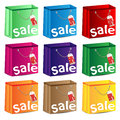 Set of multi colored packages with discounts Stock Photos