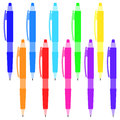 Set of multi-colored pens on a white background.