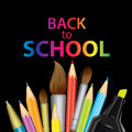 A set of multi-colored school supplies. Ready design `Back to school.` Vector illustration with pencils, pen and brushes for drawi