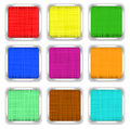 Set of multi colored square buttons linen texture with metal fringing Royalty Free Stock Images