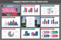 Set of multi colour elements for multipurpose presentation template slides with graphs and charts. Leaflet, corporate