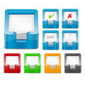Set of multicolor 3D paper tray icons Royalty Free Stock Photos