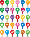 Set of multicolor navigation icons Stock Photo