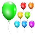 Set of multicolored balloons with ropes Royalty Free Stock Photo
