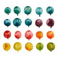 Set of multicolored balloons yellow blue green