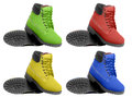 Set of multicolored boots. Angle view