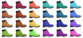 Set of multicolored boots. Side view
