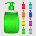 Set of multicolored bottles of liquid soap on white background Royalty Free Stock Photography