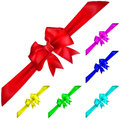 Set of multicolored bows with diagonally ribbons Stock Images