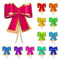 Set of multicolored bows with gold laces decoration for a gift Royalty Free Stock Photography
