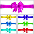 Set of multicolored bows with horizontal ribbons Stock Image
