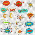 Set of multicolored comic sound effects illustration Stock Photos